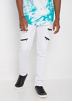 Flex White Zipped Moto Skinny Pant