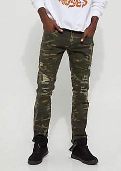 Destroyed Camo Moto Skinny Pant