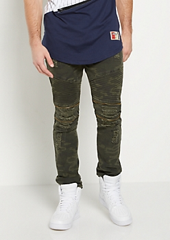 Dark Camo Distressed Moto Skinny Pant