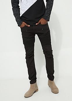Black Moto Zipper Distressed Skinny Jean