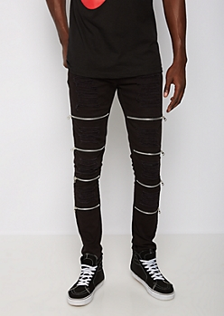 Black Destroyed Zip Knee Skinny Moto Pant