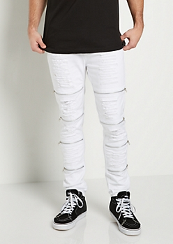 White Destroyed Zip Knee Skinny Moto Pant