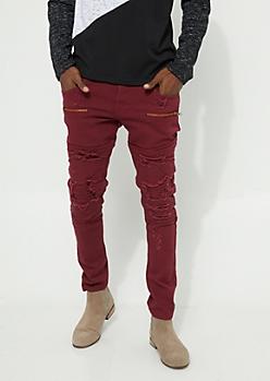 Flex Burgundy Distressed Double Layer Moto Stitch Skinny Jeans