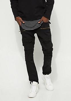Flex Black Patched Moto Skinny Jeans