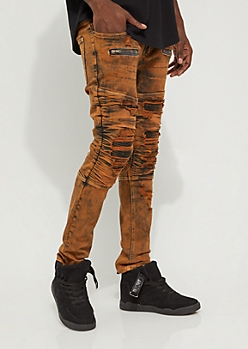 Red Tint Destroyed Moto Jeans