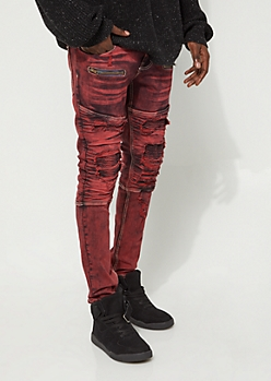 Burnt Orange Tint Destroyed Moto Jeans