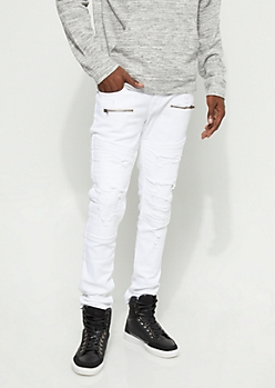 Flex White Patched Moto Skinny Jeans