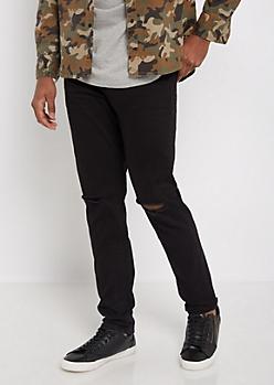 Flex Black Split Knee Twill Skinny Pant