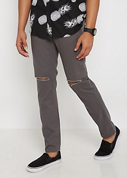 Flex Gray Split Knee Twill Skinny Pant