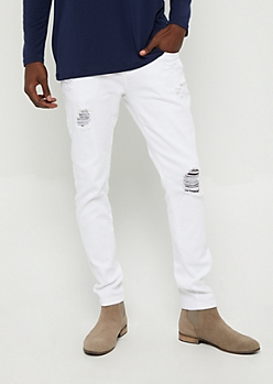 Flex White Ripped Skinny Jean