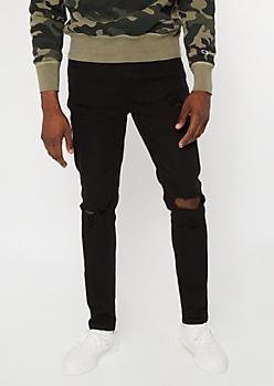 Flex Skinny Fit Frayed Black Jeans