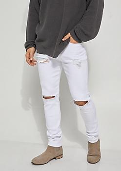 White Flex Destroyed Skinny Pants
