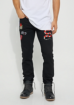 Slim Fit Black Denim Patched Jeans