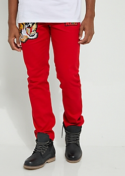 Red Tiger Patched Slim Fit Jeans