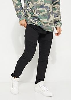 Black Twill Moto Skinny Pants