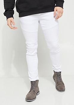 White Twill Moto Skinny Pants