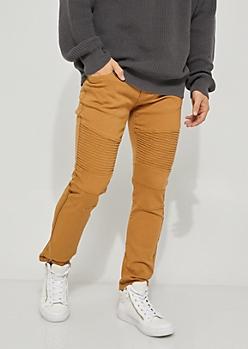 Camel Twill Moto Skinny Pants