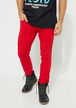 Red Twill Moto Skinny Pants