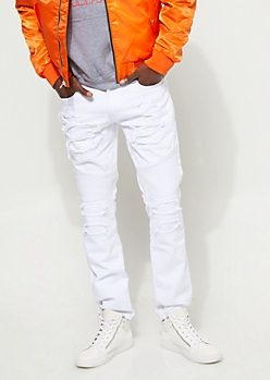 Distressed Slim Fit White Moto Jean
