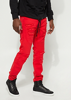Distressed Slim Fit Red Moto Jean