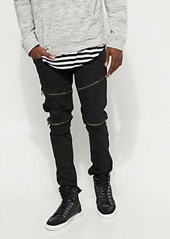 Slim Fit Zip Frayed Black Jean
