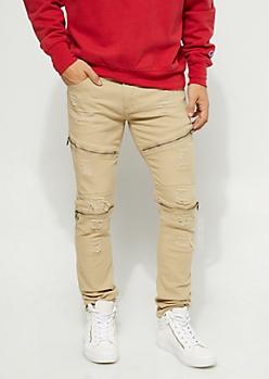 Slim Fit Zip Frayed Khaki Jean