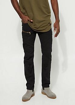 Slim Fit Stitch Detail Black Jean