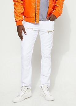 Slim Fit Stitch Detail Zipped White Jean
