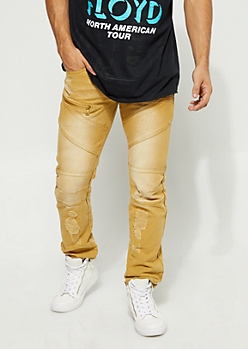 Slim Fit Stitch Detail Zipped Camel Jean
