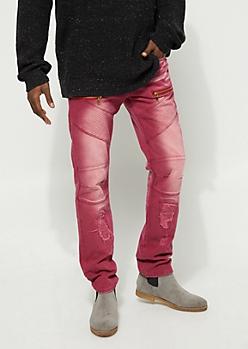 Slim Fit Stitch Detail Zipped Burgundy Jean