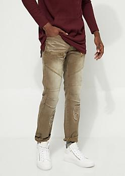 Slim Fit Stitch Detail Zipped Olive Jean