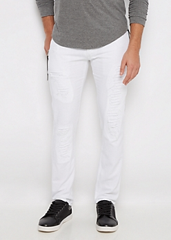 White Ripped Side Zip Slim Pant