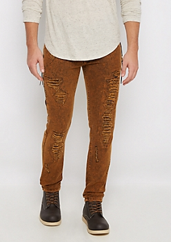 Brown Ripped Side Zip Slim Pant