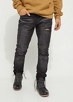 Black Destroyed Moto Skinny Jean