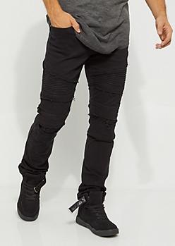 Black Frayed Moto Skinny Jean