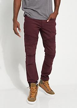 Burgundy Frayed Moto Skinny Jeans