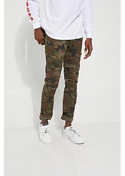 Camo Frayed Moto Skinny Jeans