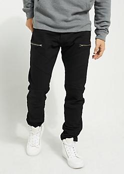 Black Diagonal Moto Flex Skinny Pants