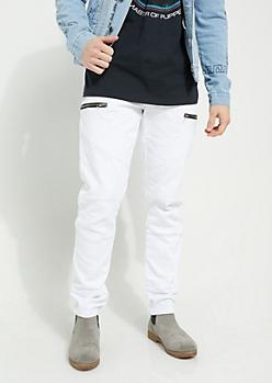 White Diagonal Moto Flex Skinny Pants