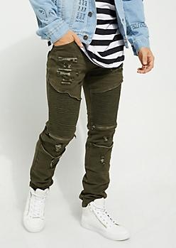Dark Olive Faux Zip Destroyed Moto Flex Skinny Jeans
