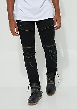Black Faux Zip Destroyed Moto Flex Skinny Jeans