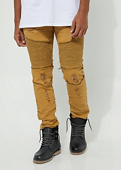 Mustard Faux Zip Destroyed Moto Flex Skinny Jeans