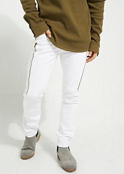White Long Zip Flex Skinny Fit Moto Jeans