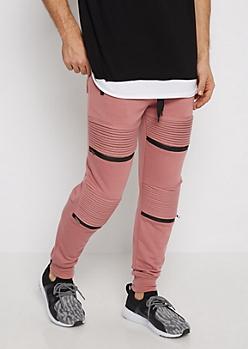 Pink Zipped Moto Jogger