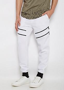 White Angled Zipper Color Block Jogger