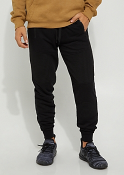 Heather Gray Embossed Moto Soft Jogger