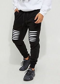 Black Shredded Moto Jogger
