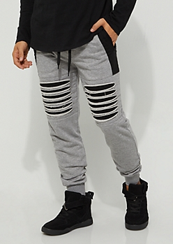 Heather Gray Shredded Moto Jogger