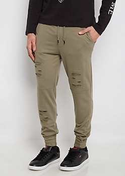 Olive Distressed Soft Knit Jogger