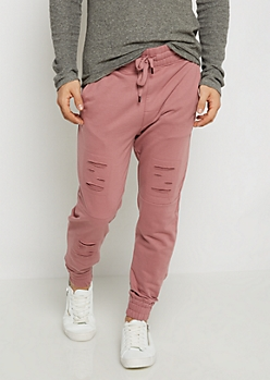 Dark Pink Distressed Soft Knit Jogger